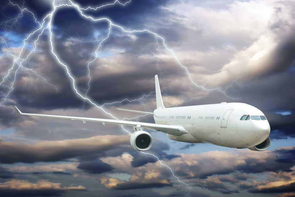 A flight flying under thunderstorm