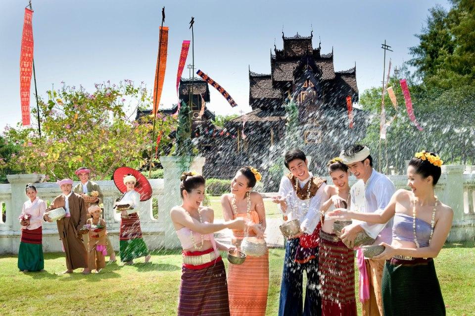 People having fun in Songkran Festival